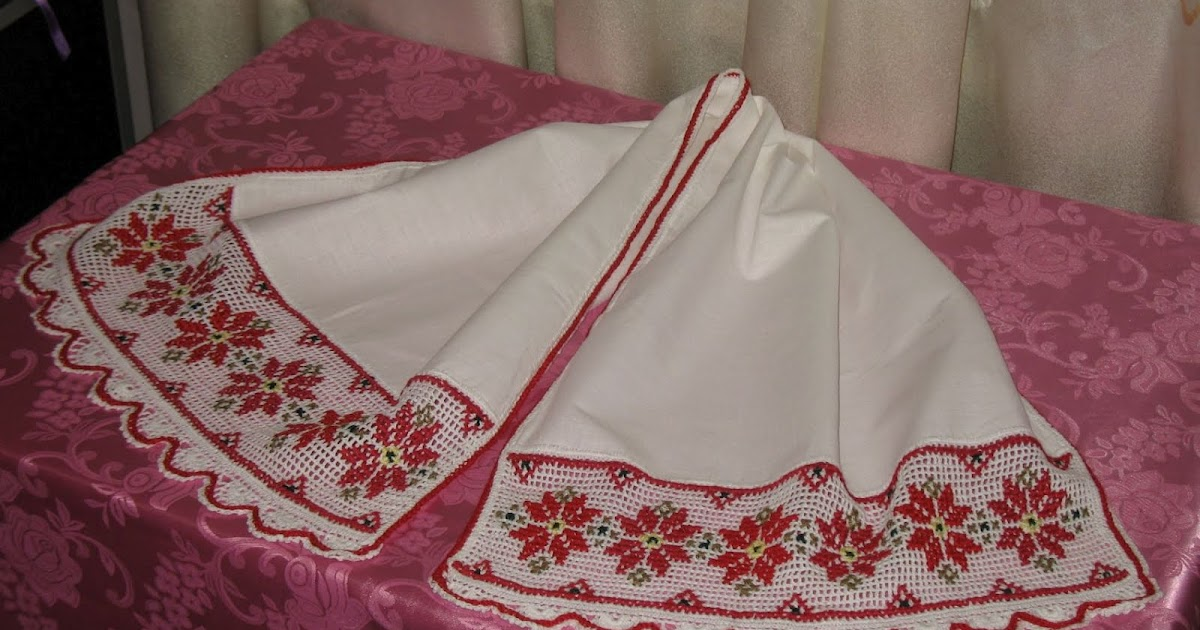 Вышивка рушника тамбурным швом