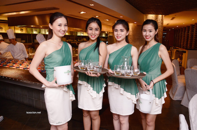Pretty ladies serving us 18 year, 25 year whisky from The Glenlivet