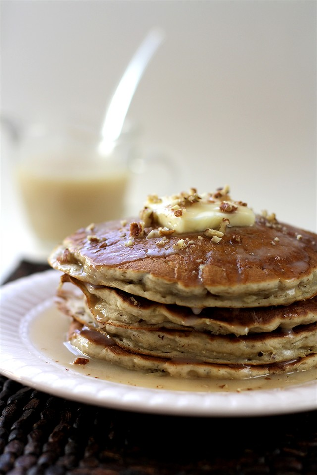 BANANA PECAN PANCAKES with BUTTER SYRUP + TIPS FOR FLUFFY PANCAKES