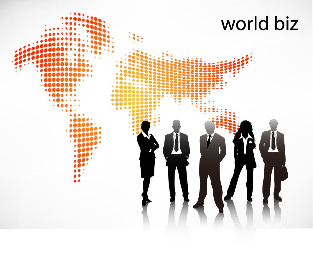 ビジネスマンのシルエットを描いた背景 Business people illustrations イラスト素材