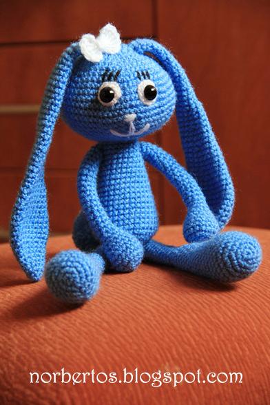 Crochet blue bunny