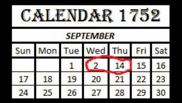 Misteri Hilangnya 11 Hari Pada Bulan September Tahun 1752 Segalanya