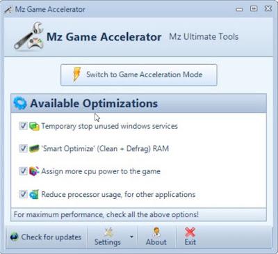 برنامج تسريع الألعاب Mz Game Accelerator