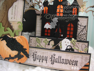 Happy halloween side step card detail