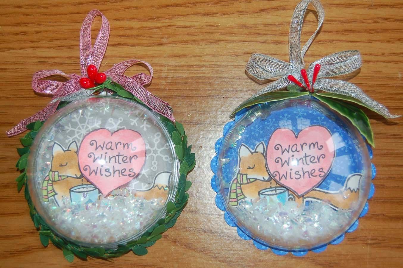 Lynn s craft snow globe shaker ornament tag