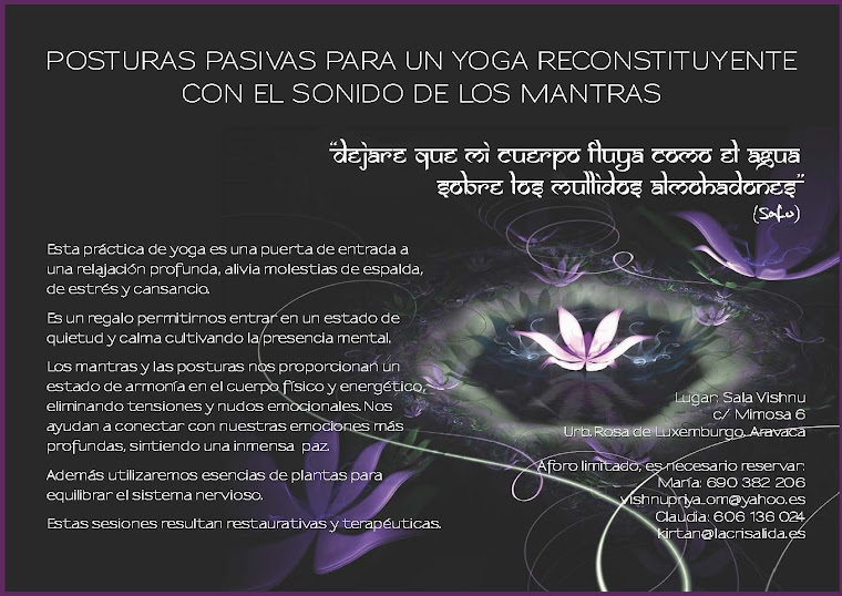 Sesión de Yoga Restaurativo. Viernes 28 de noviembre de 19.00h a 21.30h.