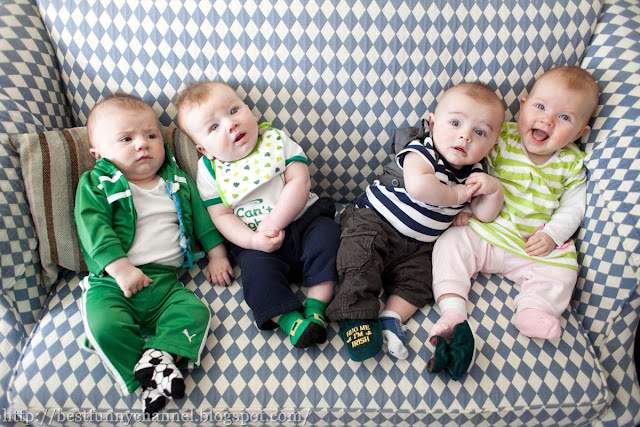 Four funny babies.