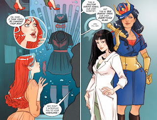 Page 18 of DC Comics Bombshells #8 featuring Batwoman, Dr. Light and Gig Barda