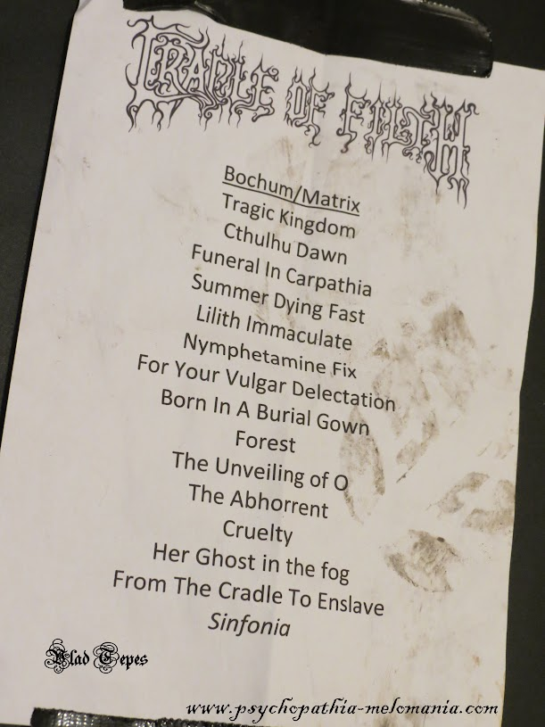 Set-list Cradle of Filth @ Matrix, Bochum (Allemagne) 08/12/2012
