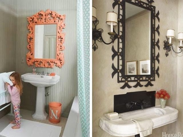 espelho quadrado com moldura colorida