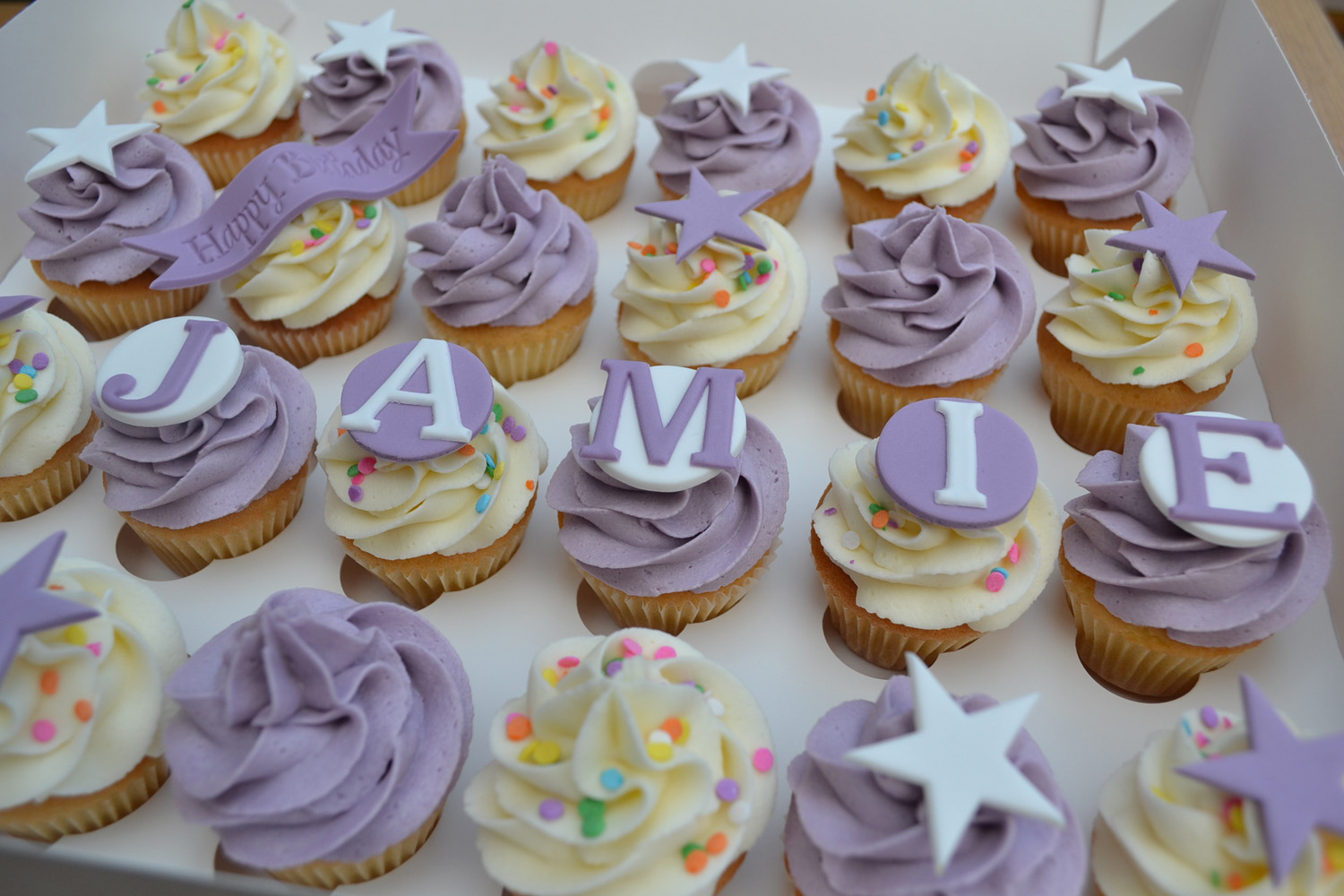 Little Paper Cakes Lilac And Cream Happy Birthday Jamie Mini Cupcakes
