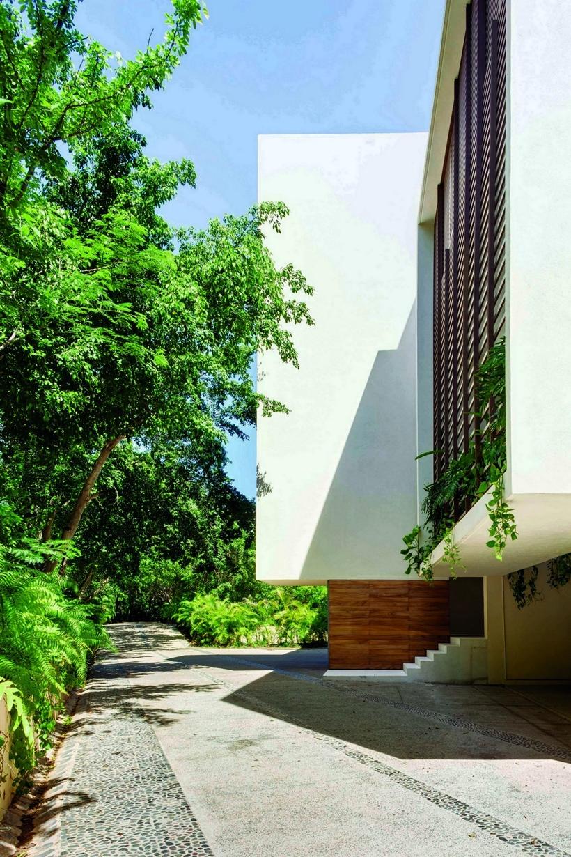 Driveway to modern villa