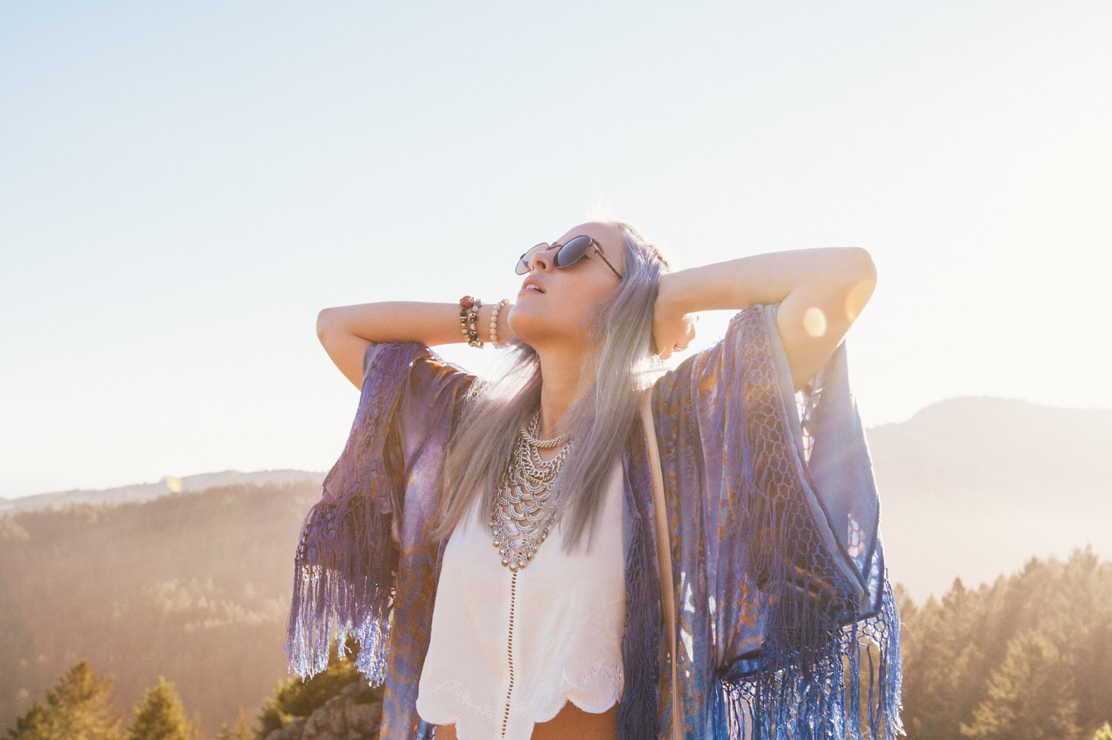 Bohemian Hippie Style for Coachella 2015. Top Knot for Festival Season, long velvet burnout kimono, matching short suit, mink pink.