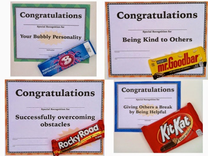 Composition Classroom: End-of-Year Candy Award Certificates