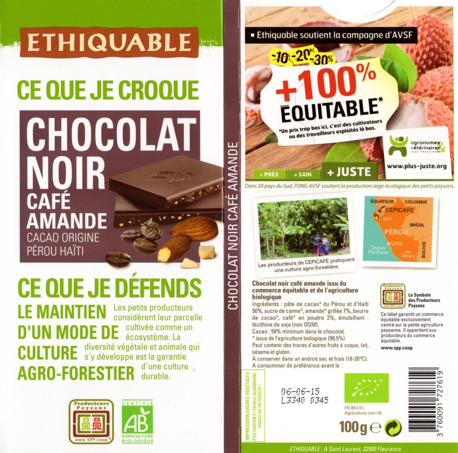 tablette de chocolat noir gourmand ethiquable pérou haïti noir café amande