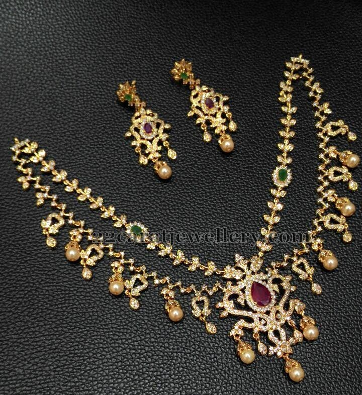 1 Gram Gold Diamond Style Necklaces Jewellery Designs