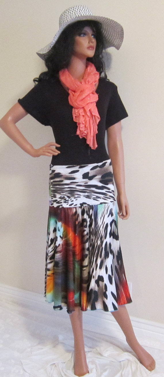 Bright Primary colored animal print circle midi boot skirt