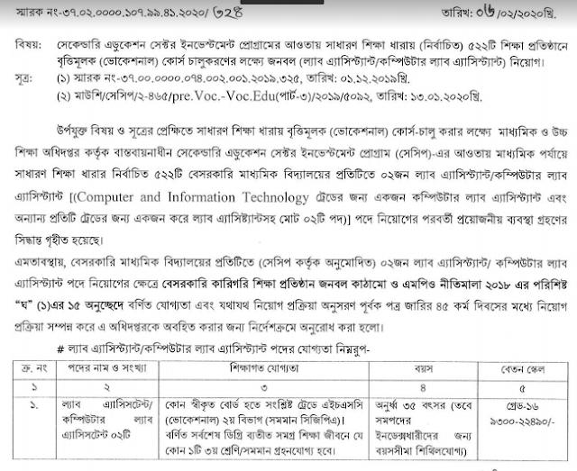 BD Govt Job Circular 2020