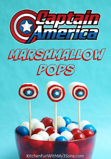 Easy Captain America Marshmallow Pops & The Avengers Party from KitchenFunWithMy3Sons.com