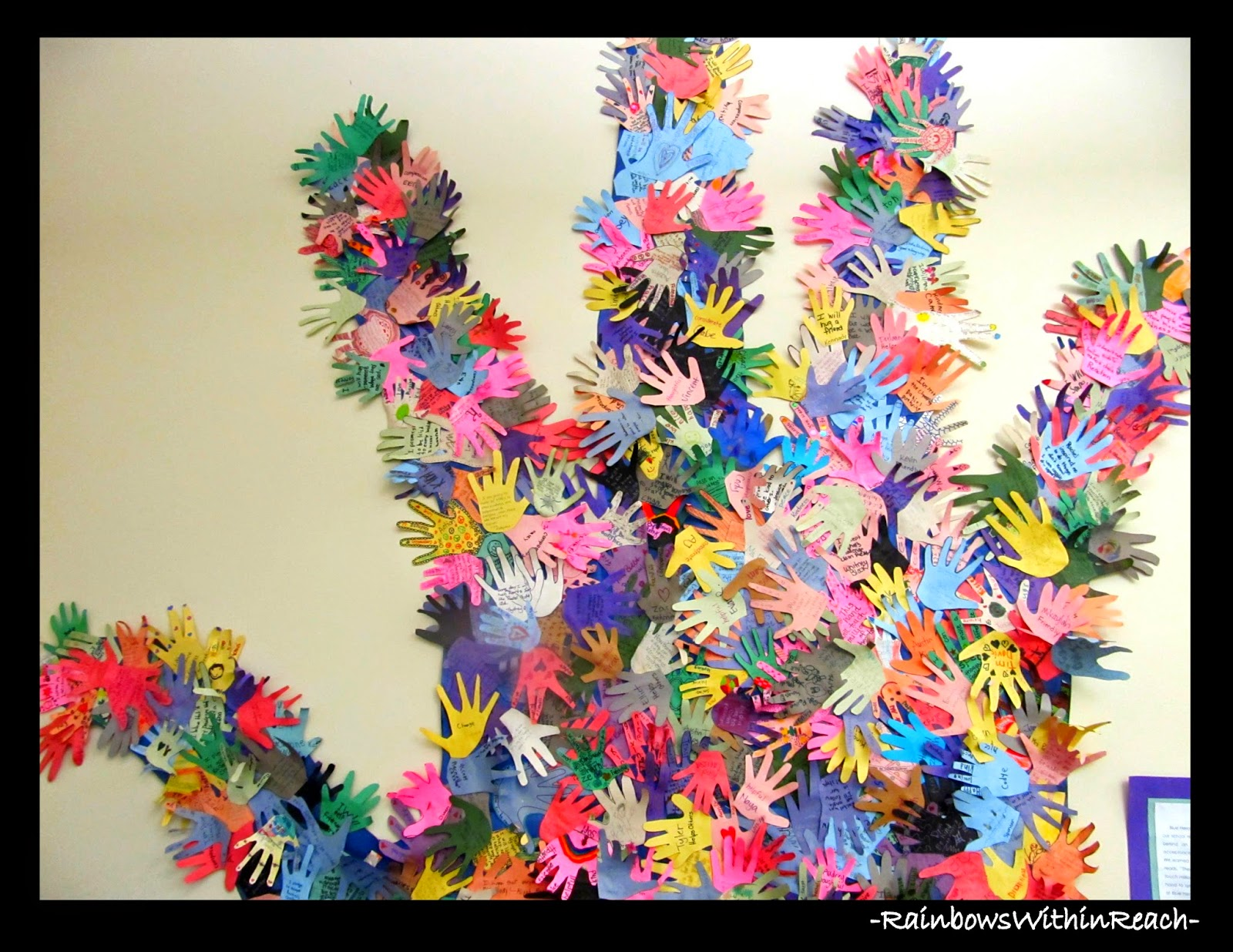 Classroom Door of Individual Decorated Hands via RainbowsWithinReach
