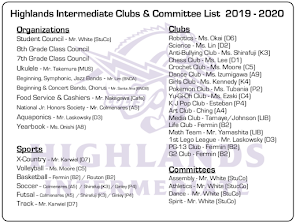 HIS Club and Committees 19-20