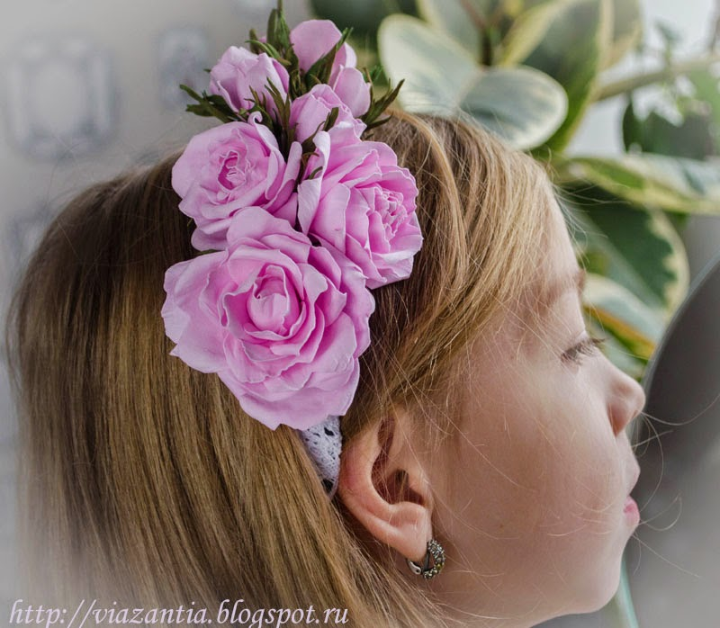 ободок с цветами из фома