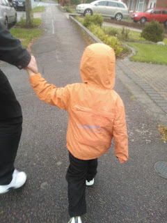 Big Boy wearing his Vertbaudet Reversible Windbreaker