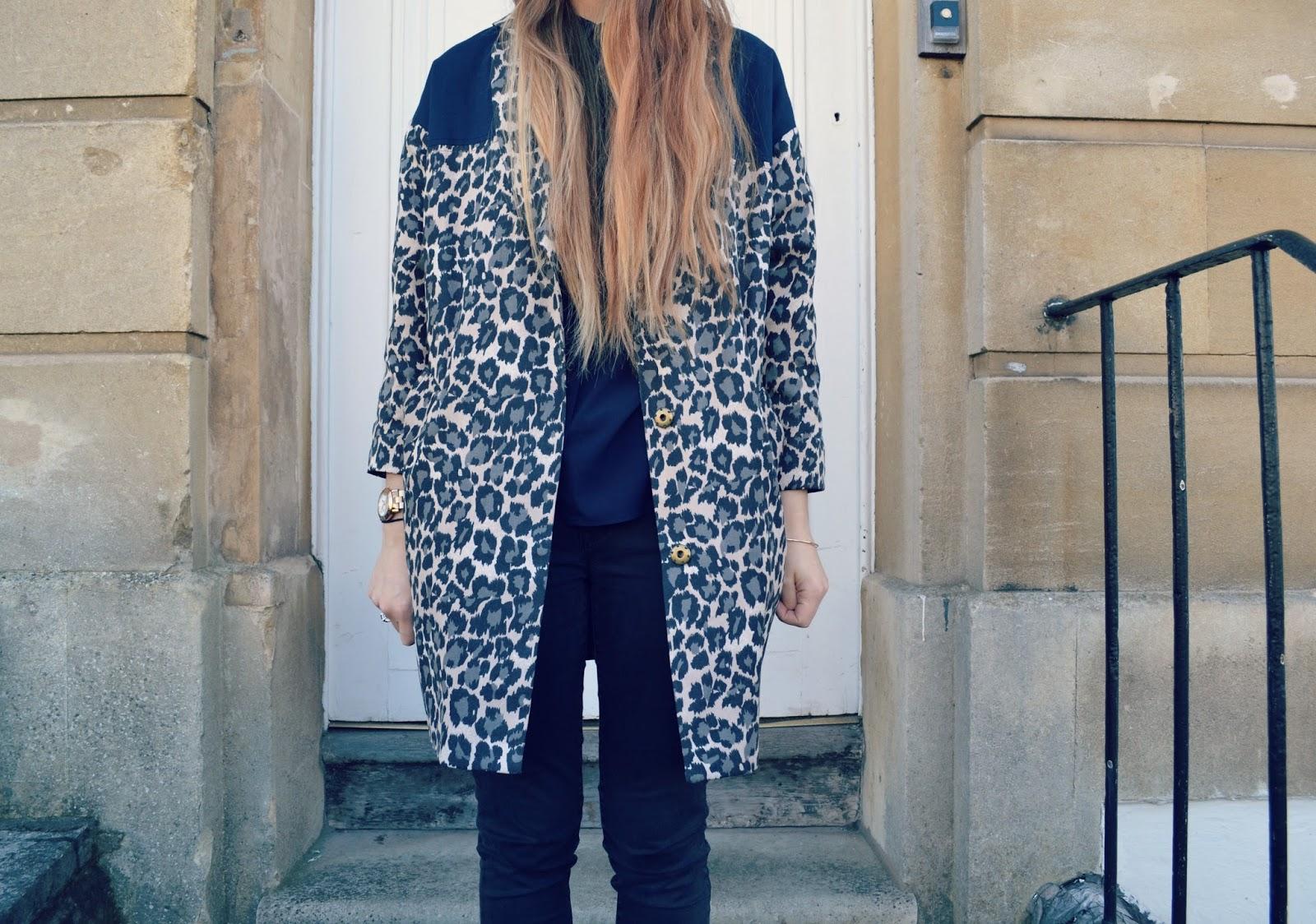 leopard print coat gap black skinny jeans