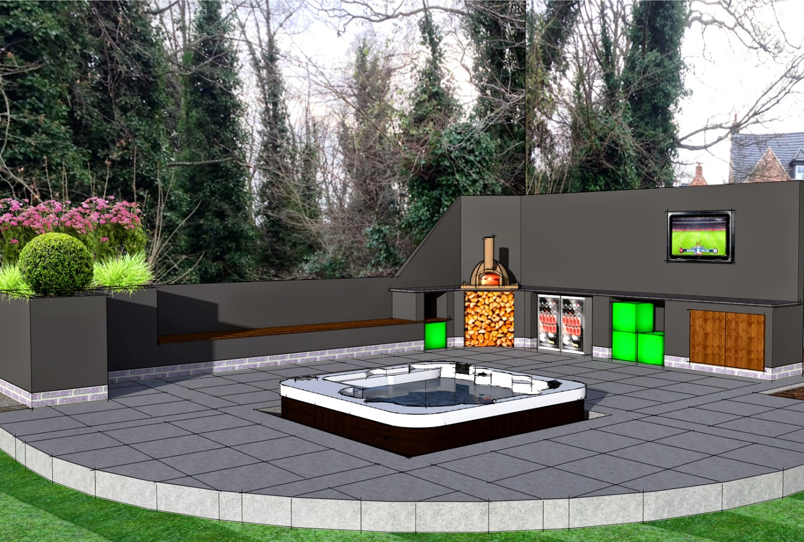 2015 Outdoor Kitchen Area Design With Pizza Oven, Television And ...