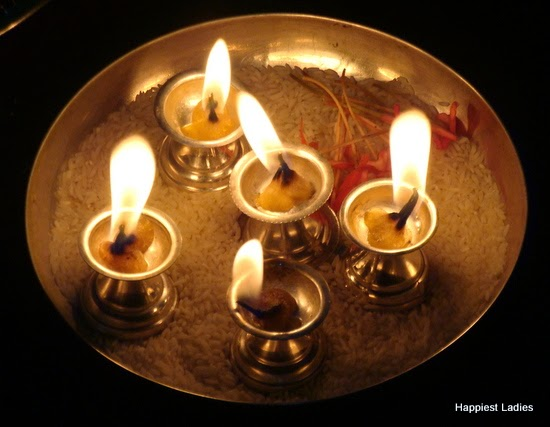 silver oil lamp diwali