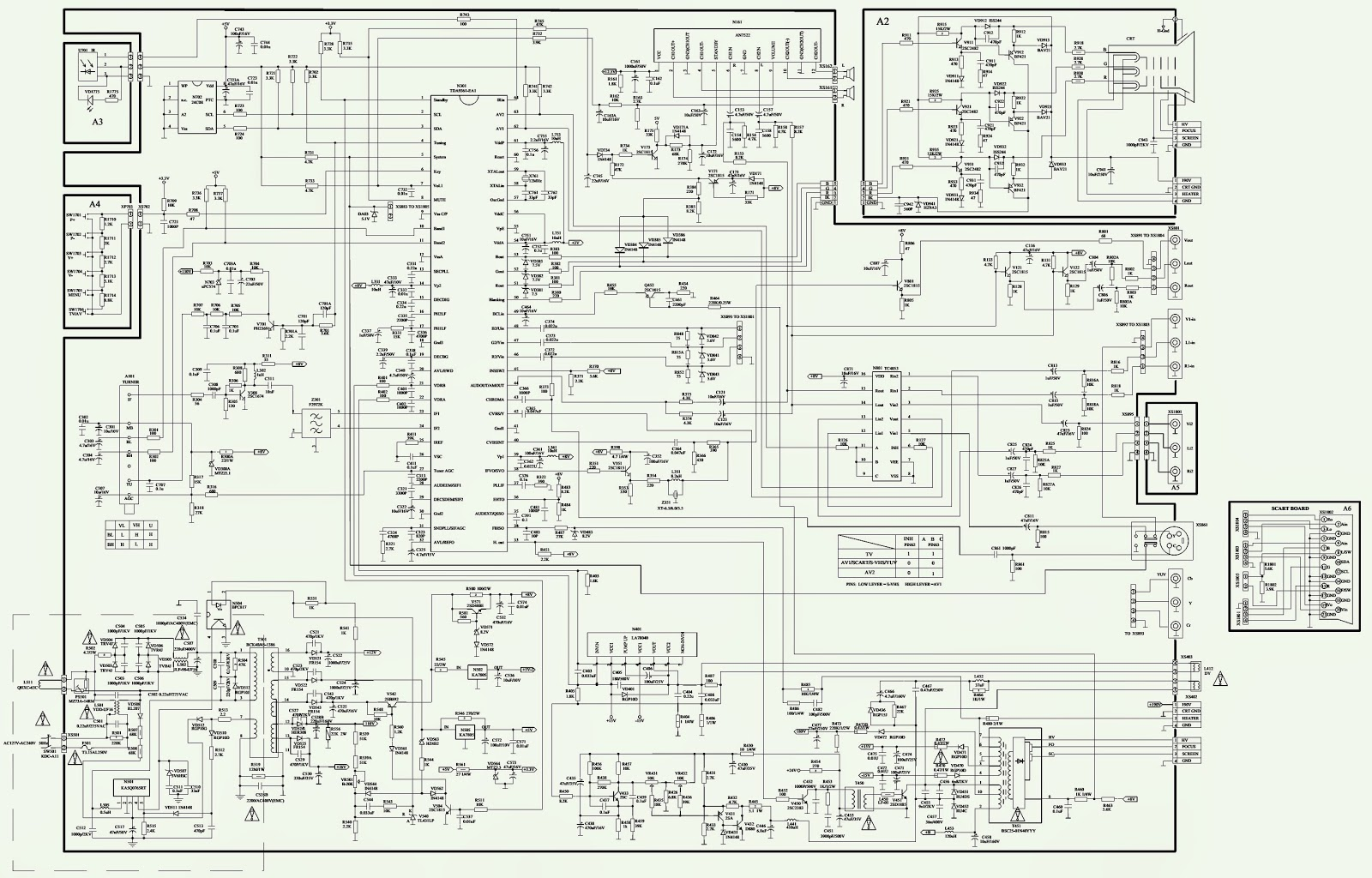 polar 37ctv3265 - nisatto ph03 - schematic  circuit diagram  - philips uoc kit