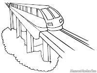 Mewarnai Gambar Kereta Monorail