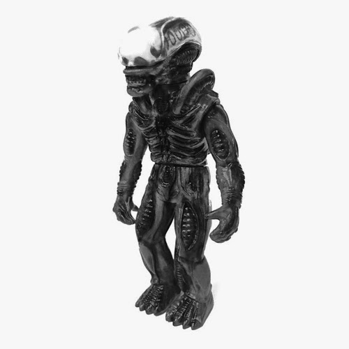 "Pearlescent Grey with Black Rub Alien Xenomorph ""Big Chap"" Popy Soft Japanese Vinyl Figure by Super7 & Secret Base"