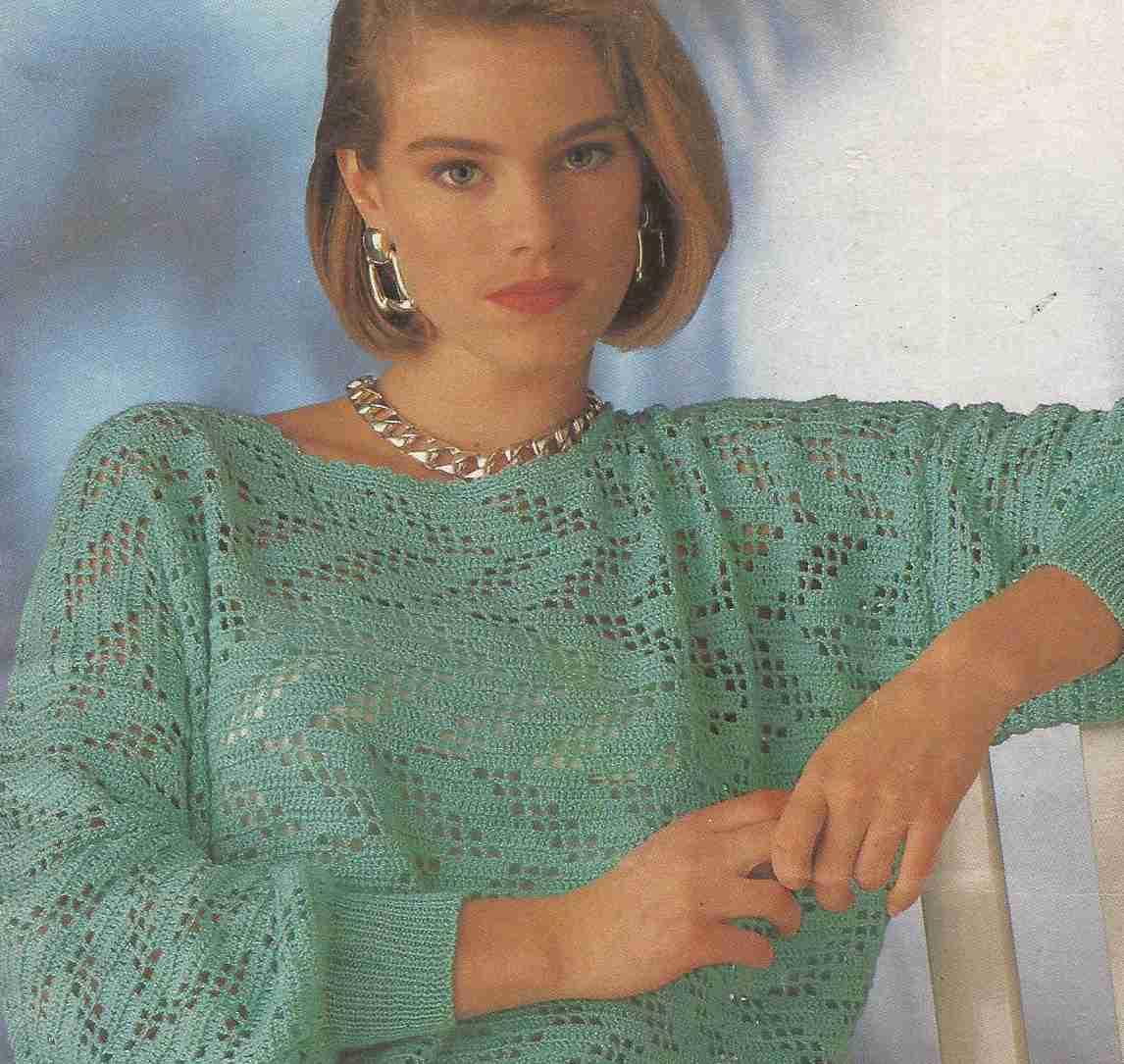 Jersey con muestra de zigzag a Crochet