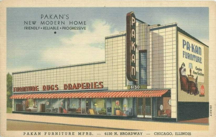 Postcard of Pakan Furniture, 6130 N Broadway