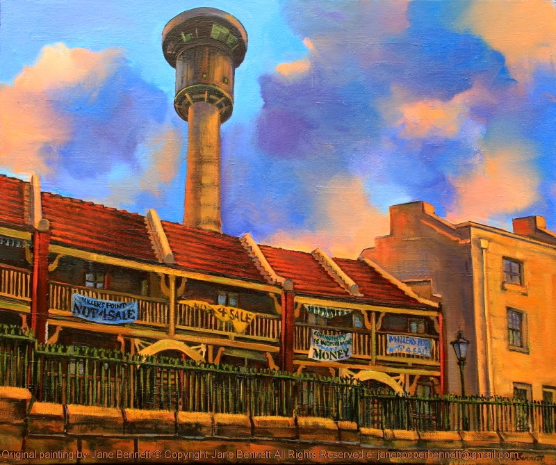 plein air oil painting of heritage terraces in Millers Point by artist Jane Bennett