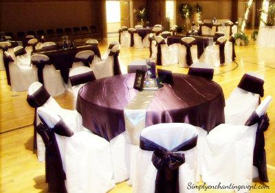 simply enchanting event eggplant silver wedding. Black Bedroom Furniture Sets. Home Design Ideas