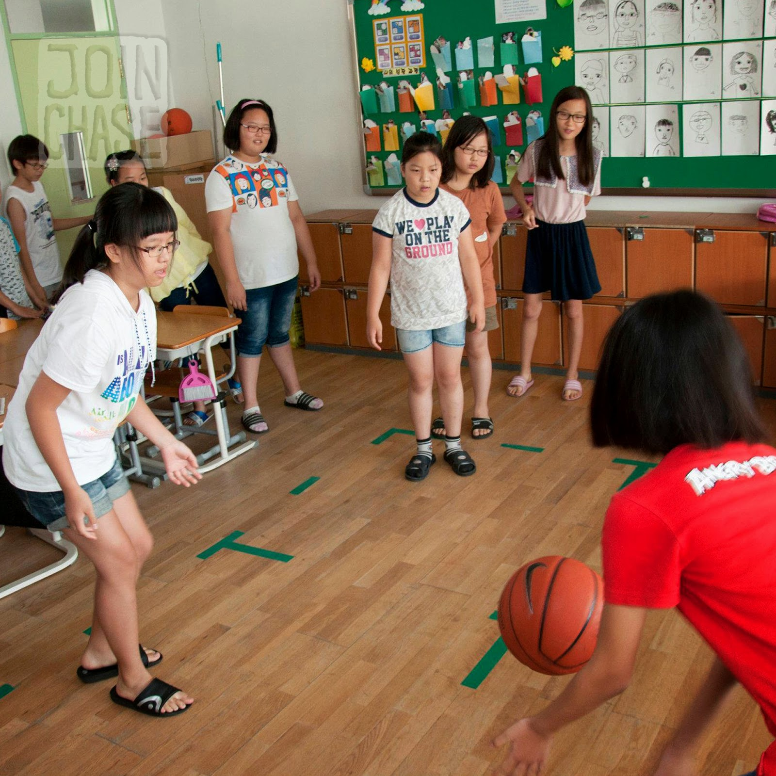 Students playing Four Square during an English lesson in South Korea.