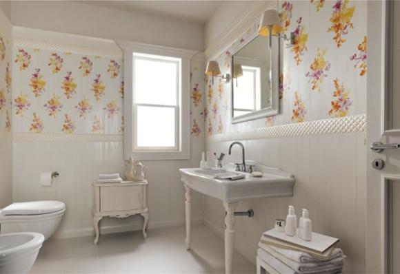 Banheiro + papel de parede  Morando Sozinha -> Decoracao De Banheiro Com Papel Contact
