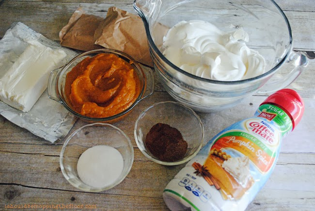 Mile High Three Layer Pumpkin Pie   This no-bake pie is the perfect addition to your holiday dessert table. Made with Coffee-mate's Pumpkin Spice Creamer, cream cheese, pudding and a few other yummy ingredients...it's the perfect pie!   #CMcantwaitCGC