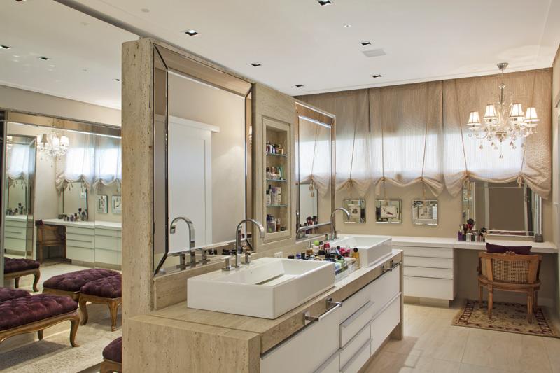 25 Banheiros com bancadas de maquiagem  veja modelos lindos e modernos!  De -> Cuba Para Banheiro Dupla