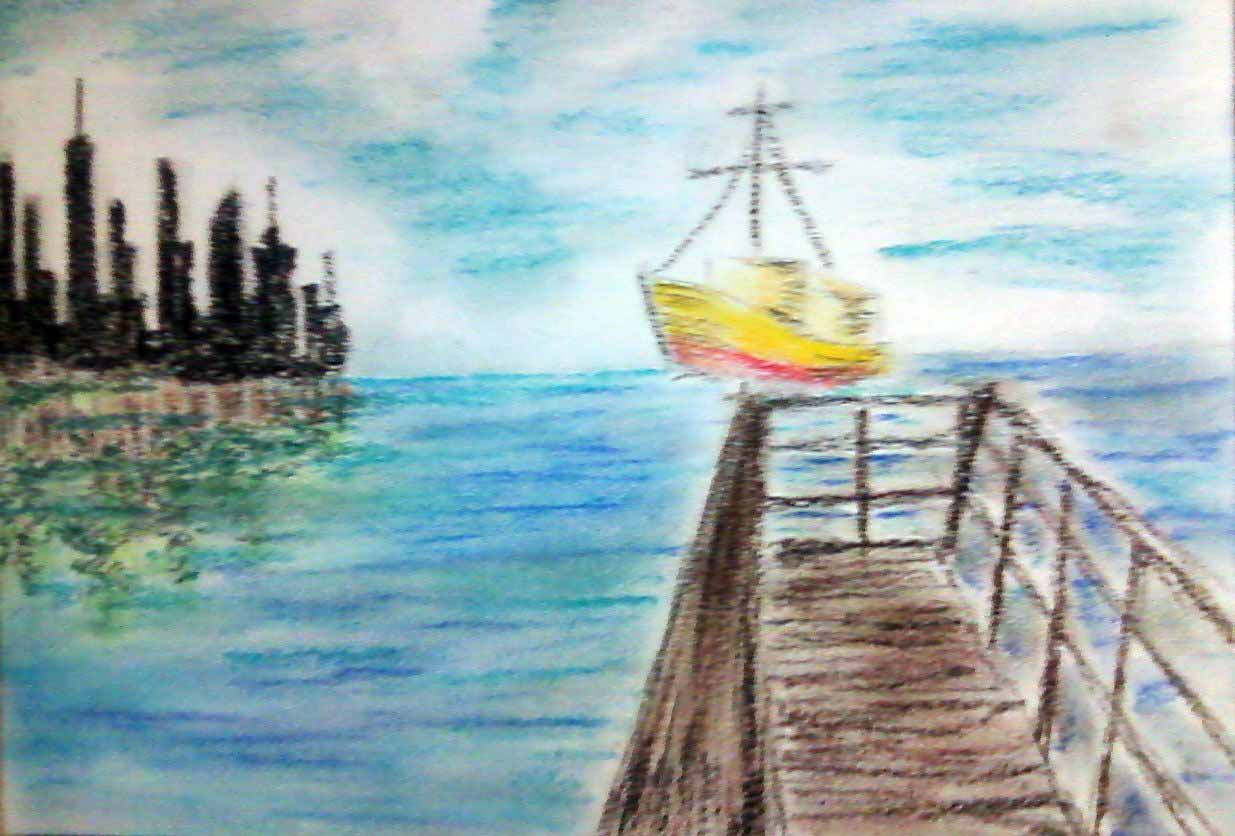 anderson furtado giz pastel paisagem marítima usando giz pastel
