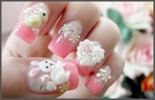 Cute Pink Nail Art accented with White Rabbit