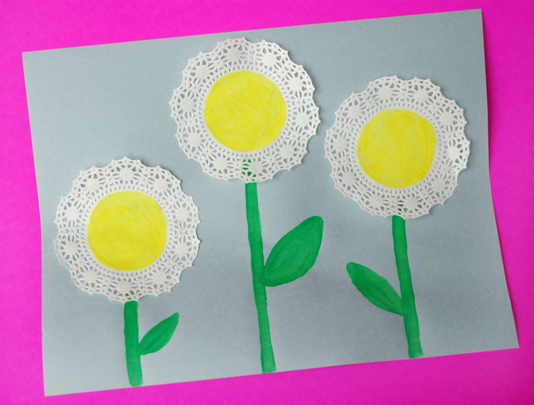 Doily Flower Craft for Spring Theme- Weekly Homeschool Preschool