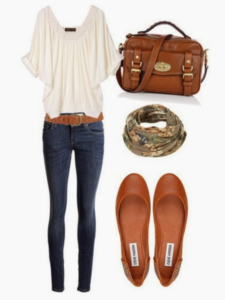White blouse, jeans, brown handbag and sandals for fall