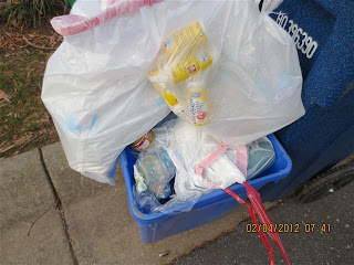 overflowing blue bin, with excess items in plastic bags