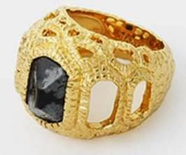 Black Obsidian Croc Statement Ring