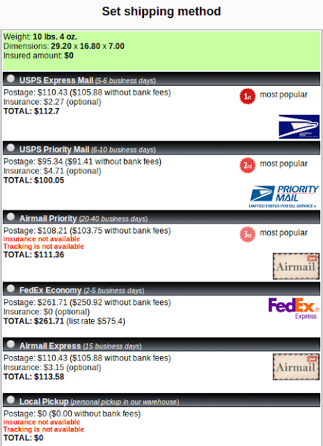 Shipito shipping method comparison for Oregon warehouse: USPS, Airmail, Fedex