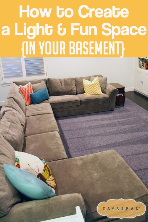 Tips for creating a light & fun space in your basement. Beautiful photos and great ideas. #decorating #basement