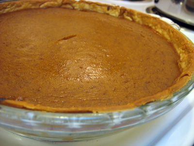 Completed soy milk pumpkin pie.